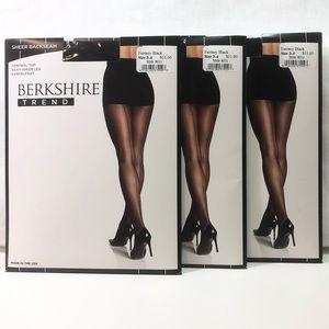3 Berkshire Black Sheer Backseam Hose sz 3-4 New!